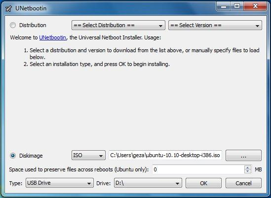 Unetbootin: Select an ISO file or a distribution to download, select a target drive (USB Drive or Hard Disk), then reboot once done. If your USB drive doesn't show up, reformat it as FAT32.